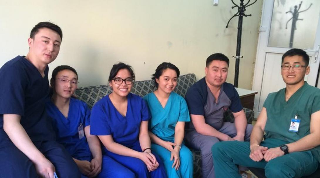 Medical interns pose for a picture in a local hospital during their Medicine Internships in Mongolia.